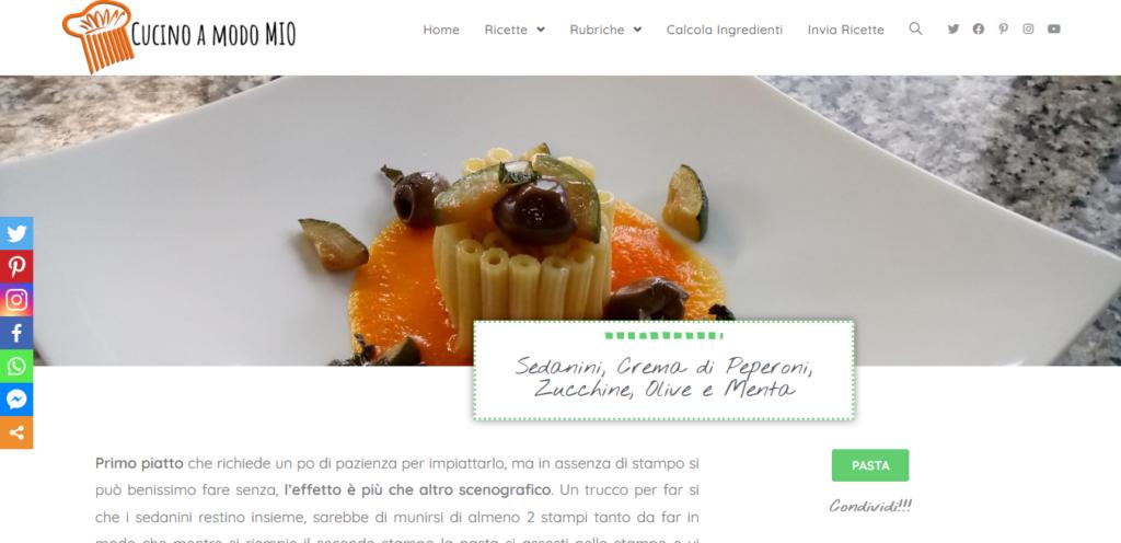 Sedanini, Crema di Peperoni, Zucchine, Olive e Menta